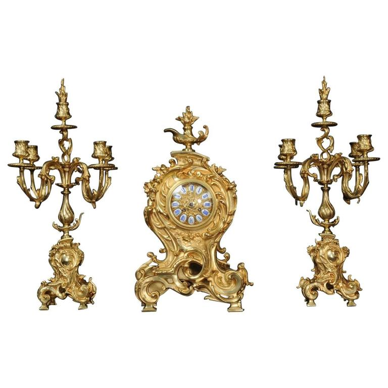 Japy Freres Large Rococo Clock Set, Fully Working For Sale