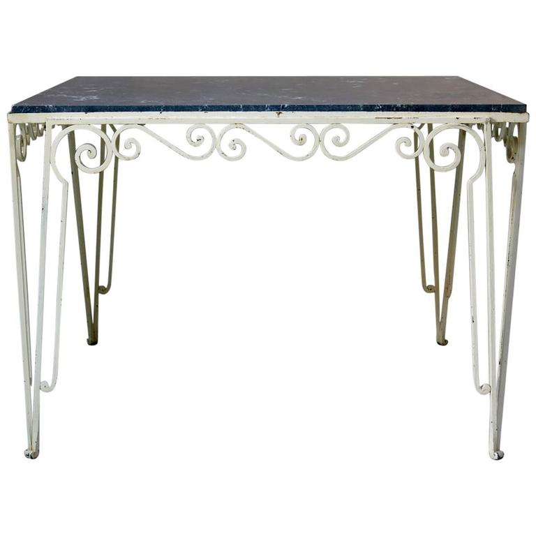 Large Wrought Iron and Stone Art Deco Table, France, 1930s For Sale