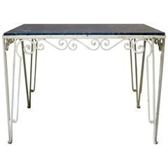 Large Wrought Iron and Stone Art Deco Table, France, 1930s