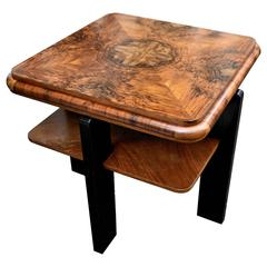 Superb 1930s Art Deco Two-Tier Occasional Table in Walnut