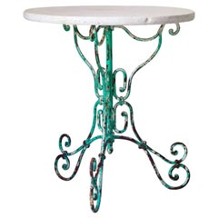Painted Wrought Iron and Marble Gueridon Table, France, circa 1920s