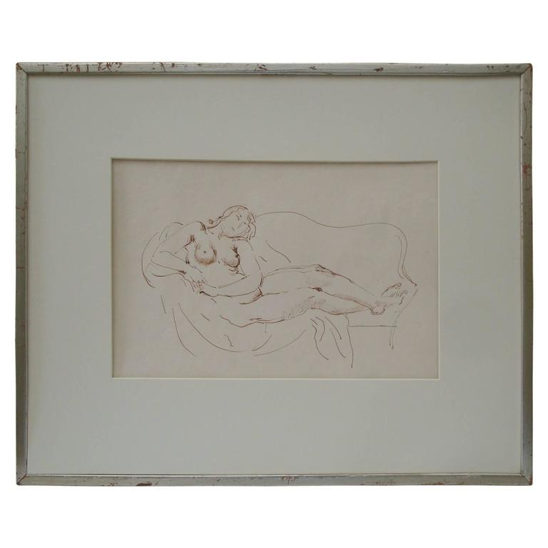 Reclining Nude Ink Drawing, by Bernard Karfiol
