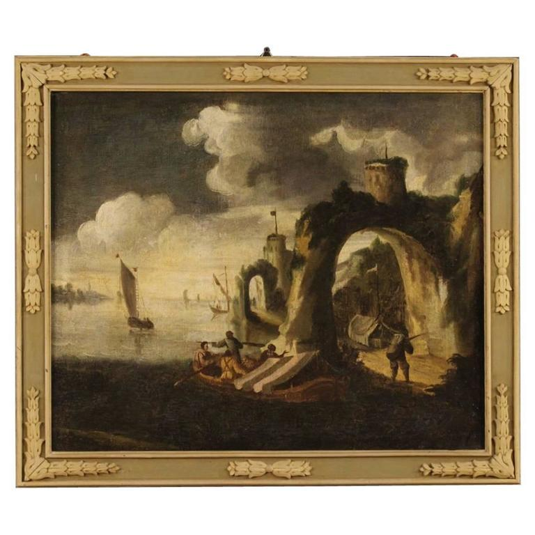 18th Century Italian Seascape Painting Oil on Canvas