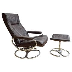 Mid-Century Retro Danish Brown Leather Kebe Swivel Armchair and Footstool, 1960s