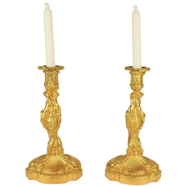 Pair of 19th Century Louis XV Ormolu Candlesticks After Meissonier For Sale