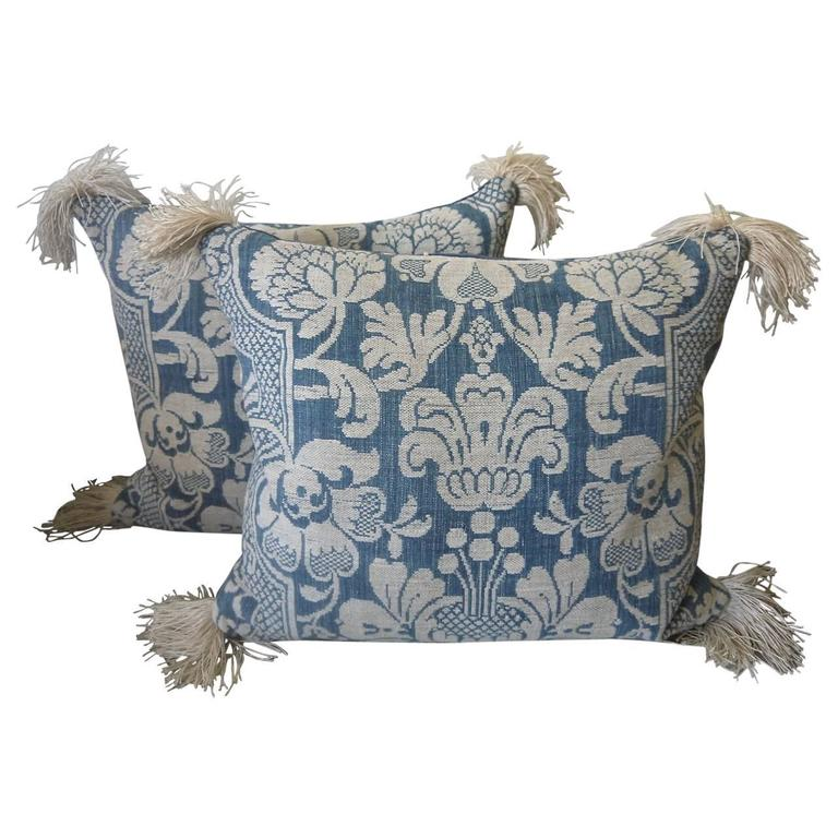 Pair of 1760s Antique French Blue and White Linen and Cotton Woven Pillows