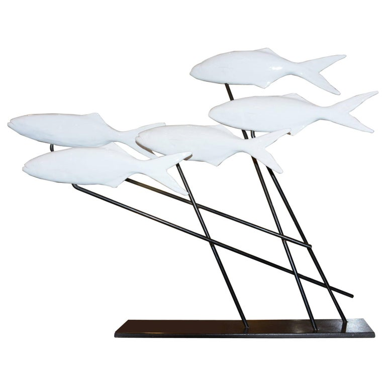 Fishes Sculpture in White Ceramic on Bronze Base by Dablemont For Sale