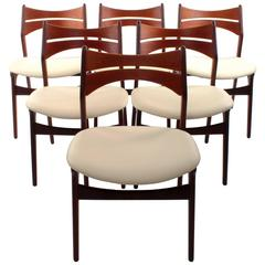 Rosewood and Teak Dining Chairs, Set of Six Erik Buck Model 310 Chairs