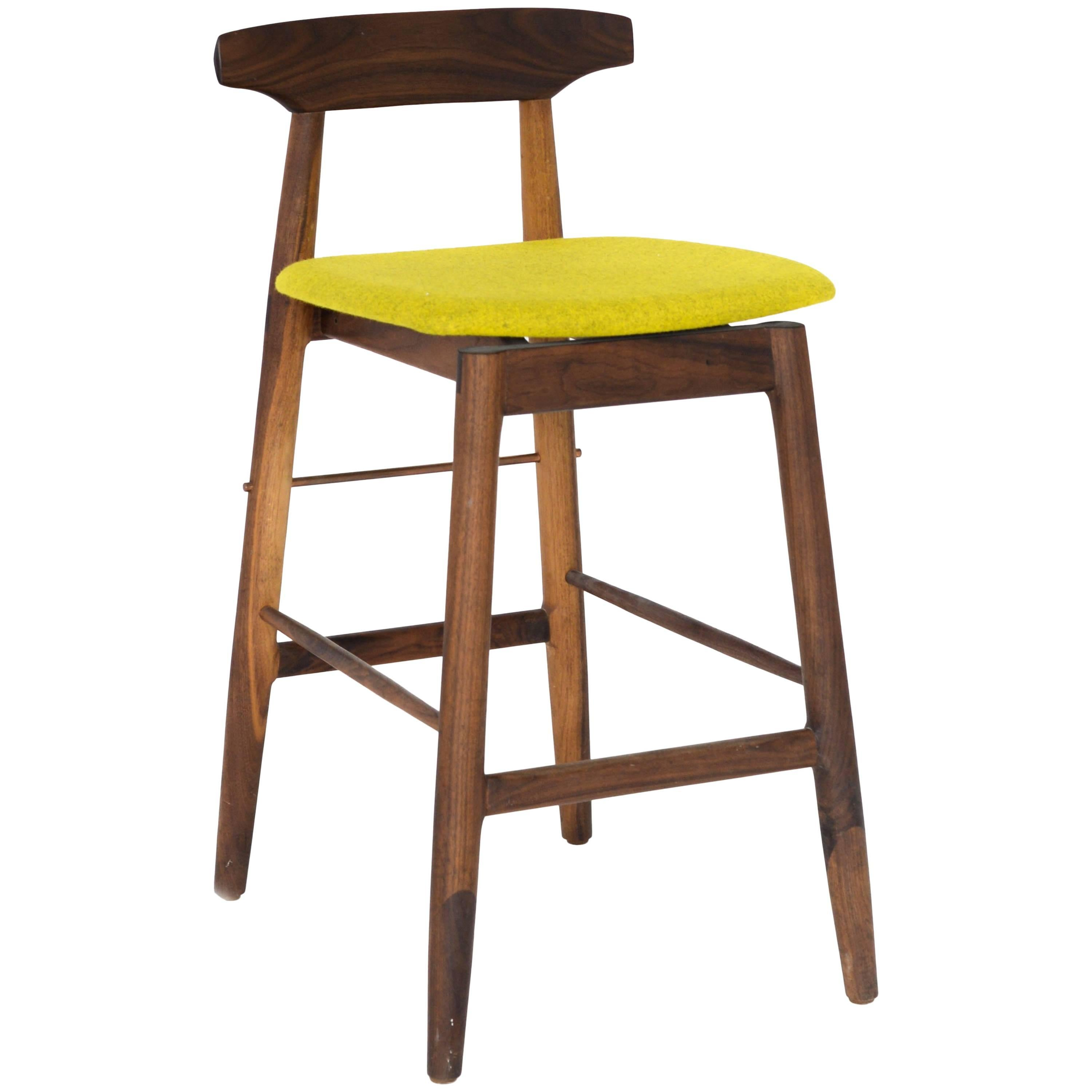 Walnut and Copper Wood High Stool with Custom Teal Felt Upholstery