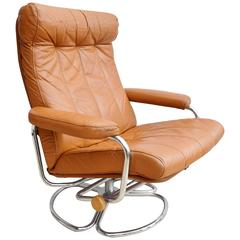 Mid-Century Danish Tan Leather Skippers Mobler Swivel Armchair, 1960s-1970s