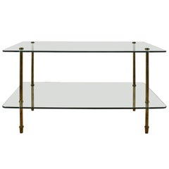1960´s  Side Table, thick glass, solid brass legs - Italy