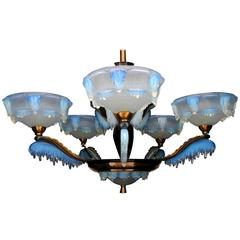 Art Deco Chandelier by Ezan and Petitot French Opalescent Glass and Copper 1930