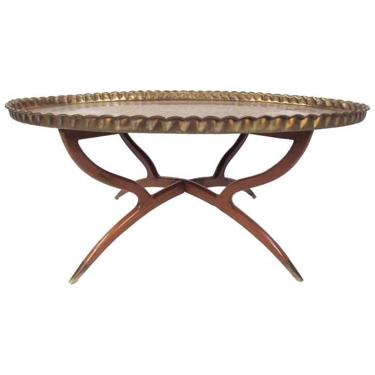 Mid Century Moroccan Style Brass Tray Table 1
