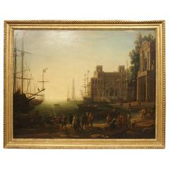 Large Antique Oil Painting on Canvas, Harbour at Sunset and the Villa Medici