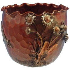 Mixed Metals Gorham Sterling Silver Copper Vase Applied 3-D Flowers Hollowware