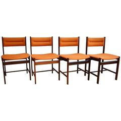 Mid-Century Danish Set of four Dining Chairs in Rio Rosewood by Dyrlund, 1970s