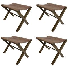 4 Wood and Studded Leather French X-Frame Benches Style Jean Michel Frank