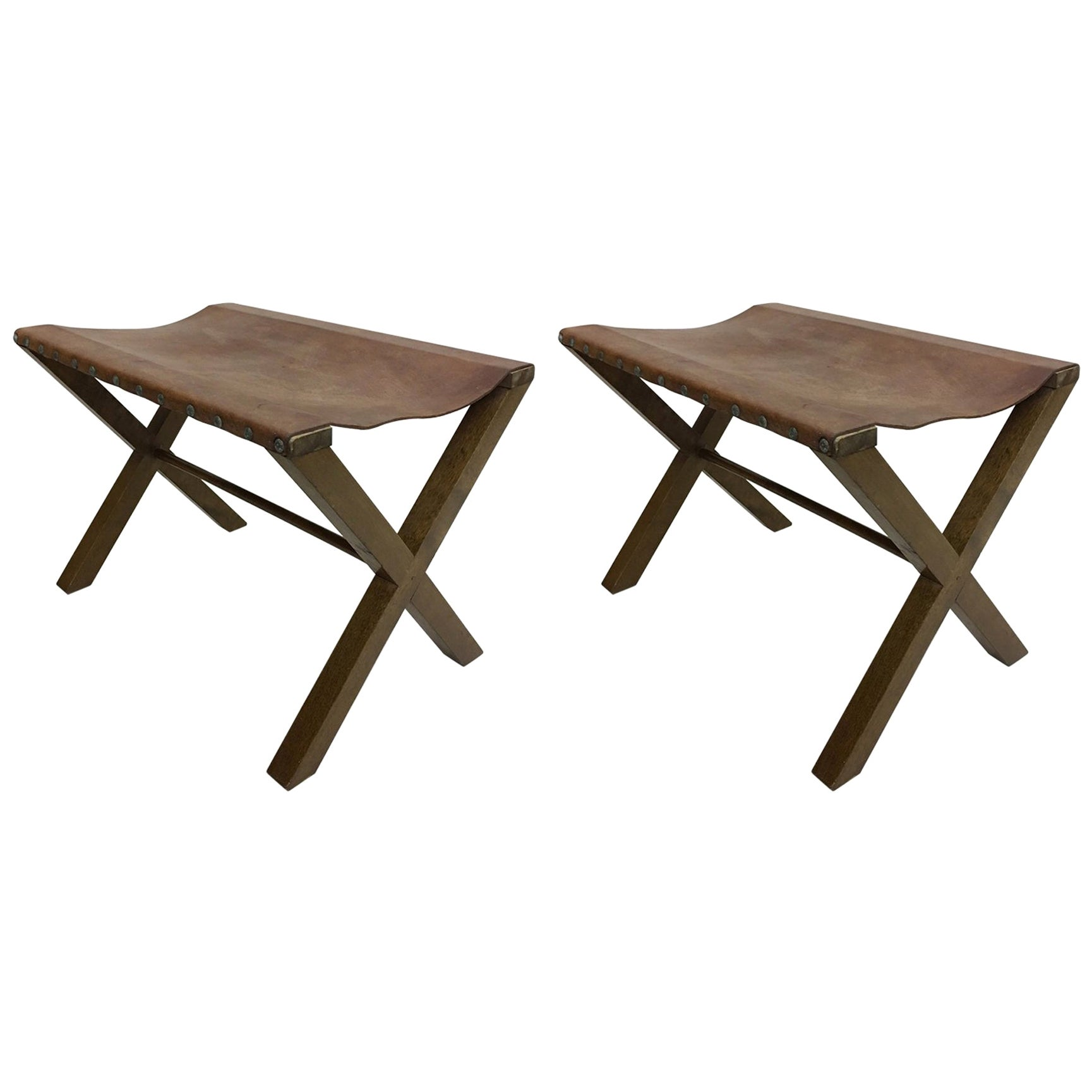 2 French Midcentury Wood and Studded Leather X-Frame Benches, Jean-Michel Frank