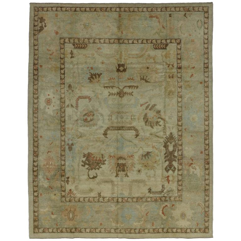 Modern Turkish Oushak Rug With Transitional Style And