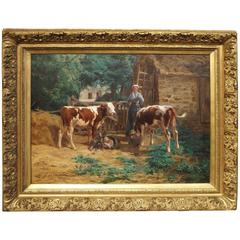 Large Antique French Oil on Canvas, a Farm Scene by Le Vavasseuer