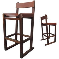 Piero Stool in Argentine Rosewood and Leather-Wrapped Back and Slung Seat