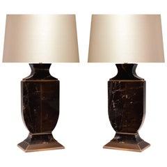 Pair of Dark Rock Crystal Quartz Lamps
