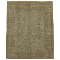 Modern Turkish Oushak Rug with Transitional Style and Light Colors