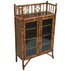 English Bamboo Bookcase Cabinet with Two Glazed Doors