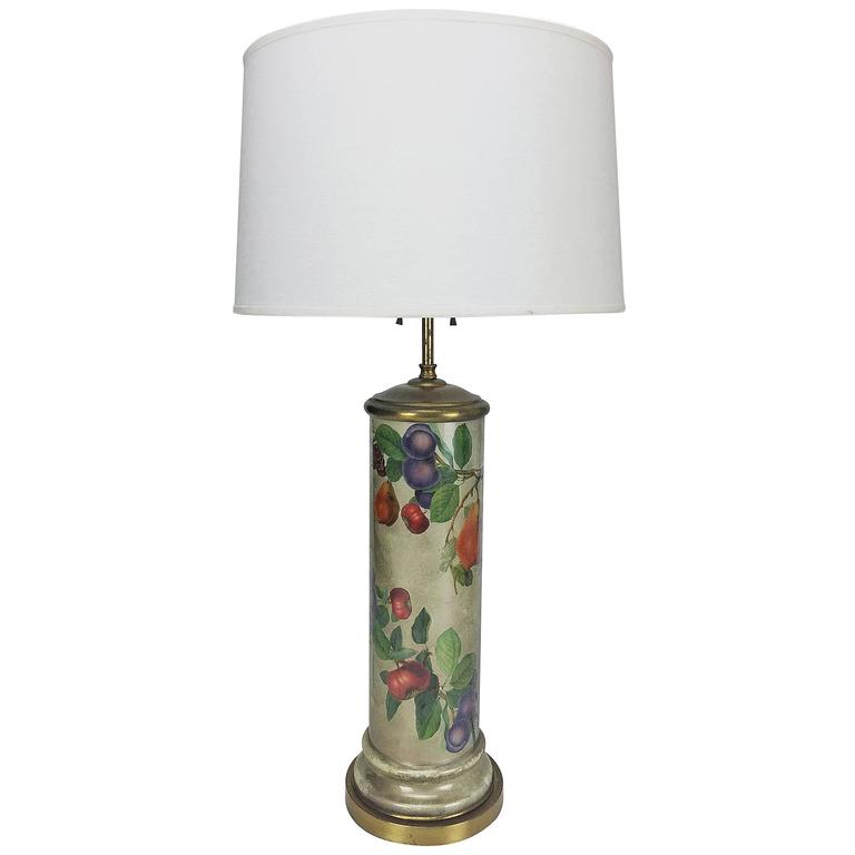 Mid-Century Decoupage Silvered Glass Table Lamp with Fruit Design 1
