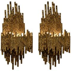 Pair of Gilded Metal Brutalist Wall Sconces by Fantoni Italy