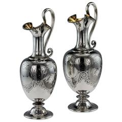 Antique 19th Century Victorian Solid Silver Pair of Wine Jugs, George Angell