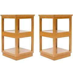 Pair of Edward Wormley for Drexel Tiered Nightstands with Mid-Tier Drawer