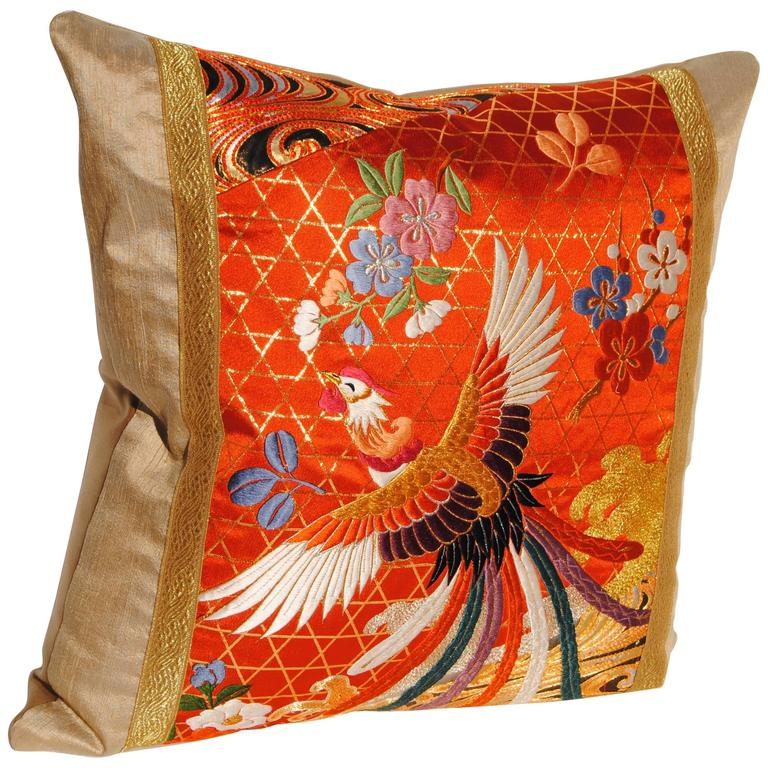 Custom Pillow Cut from a Silk Embroidered Japanese Wedding Kimono