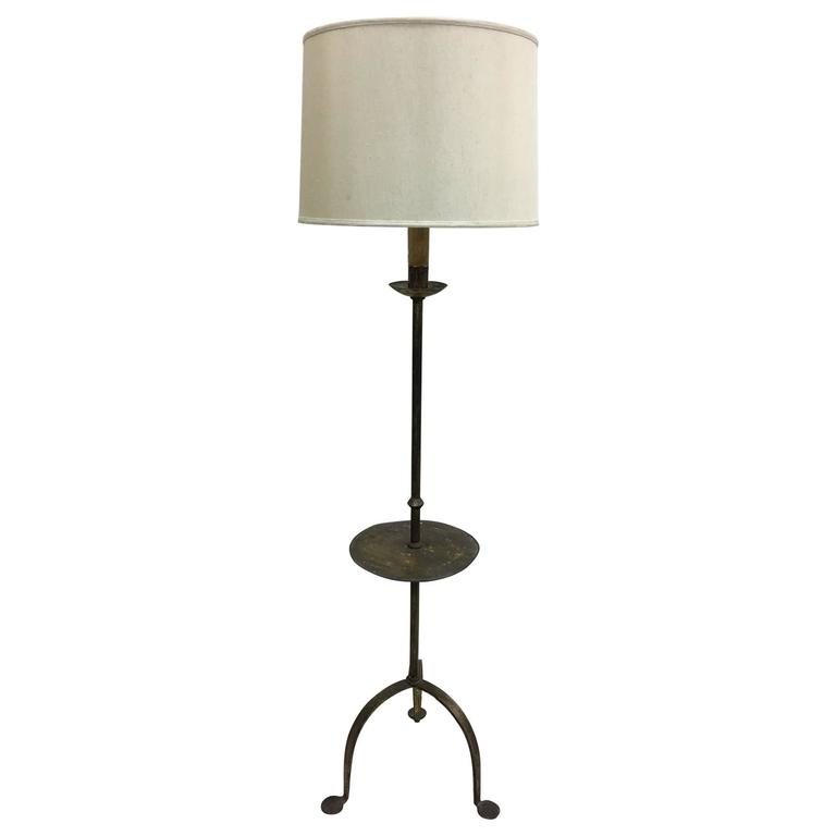 Sculptural French, 1940s Gilt Iron Floor Lamp with Integrated Gueridon For Sale