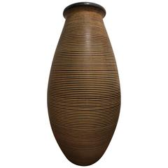 Large Fine Ringed Stoneware Floor Vase