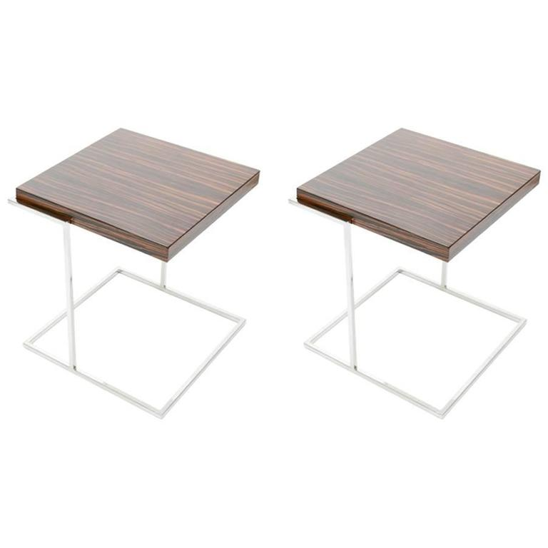 Pair Of Stunning Zebra Wood And Chrome Cantilever Side Tables For