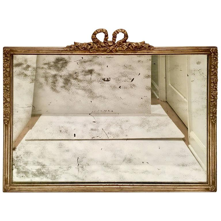 19th Century Silver Leaf Carved Louis XVI Style Antique Mirror