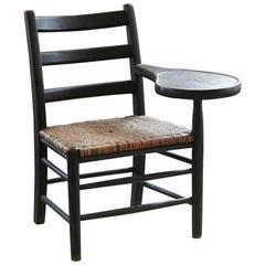 Antique Charred or Burnt Oak Tablet Armchair