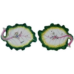 Pair of 18th Century Georgian Chelsea Porcelain Tromp L'oeil Leaf Dishes