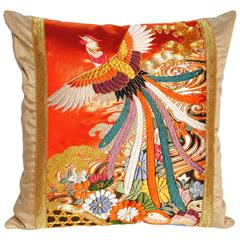 Custom Pillow Cut from a Vintage Japanese Silk Embroidered Wedding Kimono