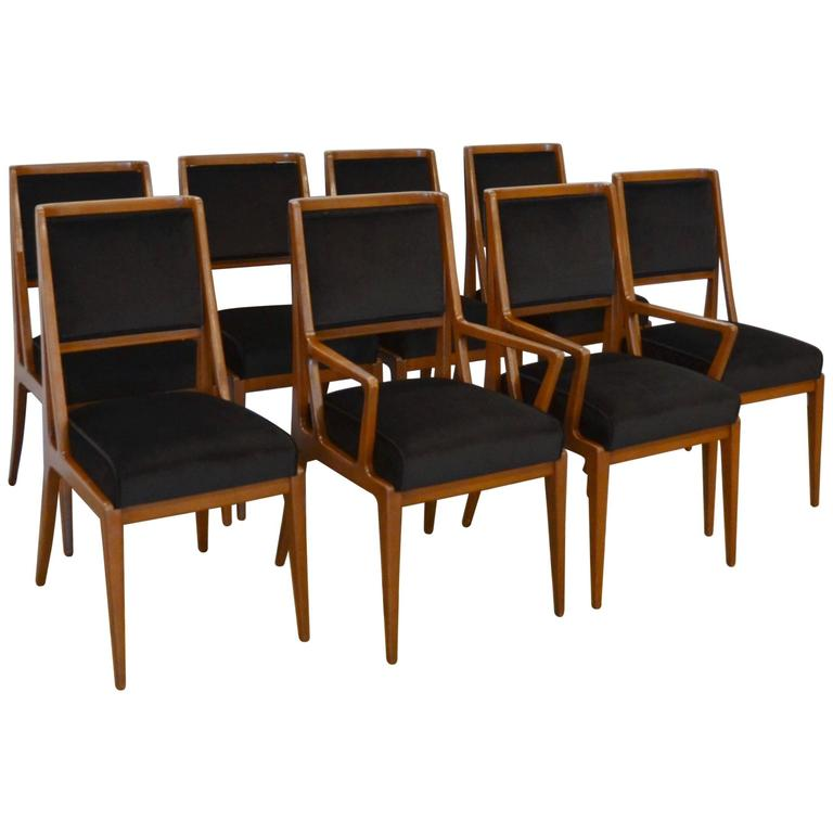 Mid-Century Walnut Dining Chairs, Bertha Schaefer, Style of Gio Ponti, Set of 8