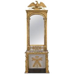Swedish 19th Century Neoclassical Giltwood and Marble Console with Mirror