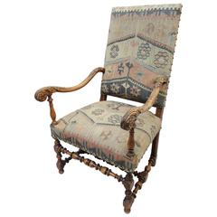 19th Century French Louis XIII Style Walnut Armchair Upholstered in Kilim