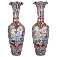 Very Large-Scale Pair of 19th Century Imari Vases