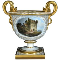 Regency Flight, Barr and Barr Porcelain Urn with Morpeth Castle, Northumberland