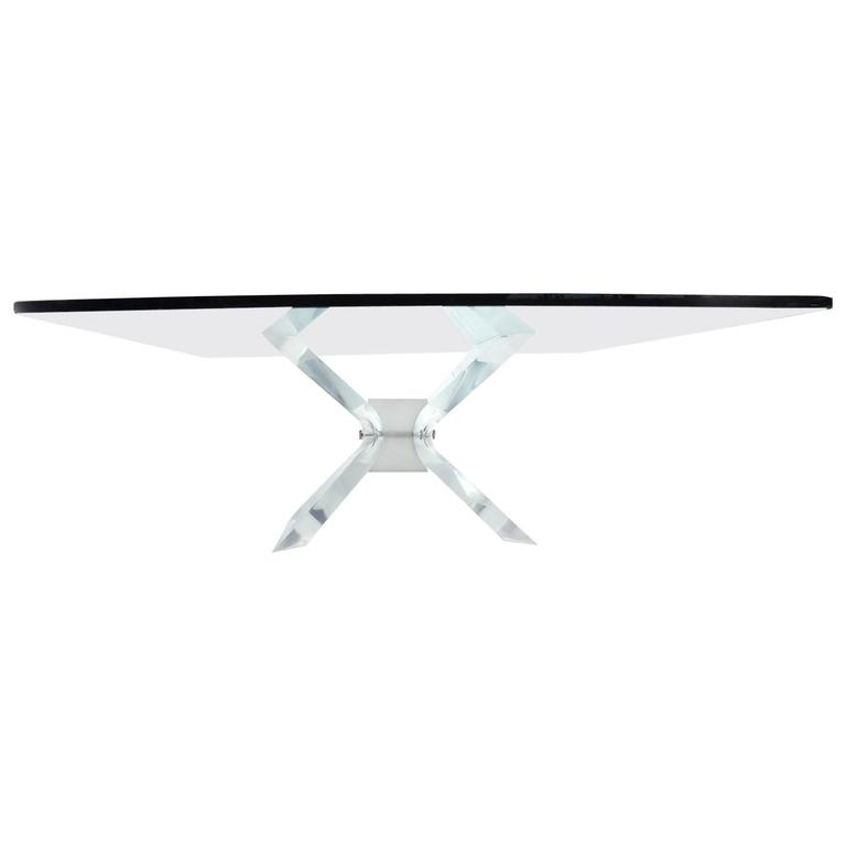 Leon Frost Lucite and Glass Coffee Table For Sale