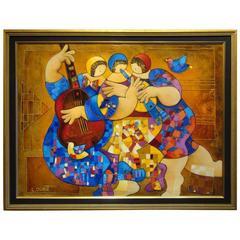Rare Large Deluxe Framed Oil Music Dance Trio Painting with 24-Karat Dorit Levi