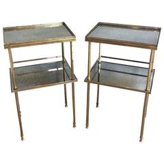 Pair of 1940s French Brass Side Tables