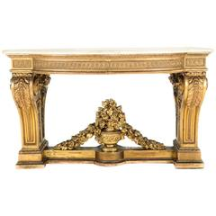 18th Century Gold Giltwood and Marble Console with Provenance