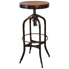 Original Vintage Industrial Toledo Backless Wood and Metal Adjustable Bar Stool